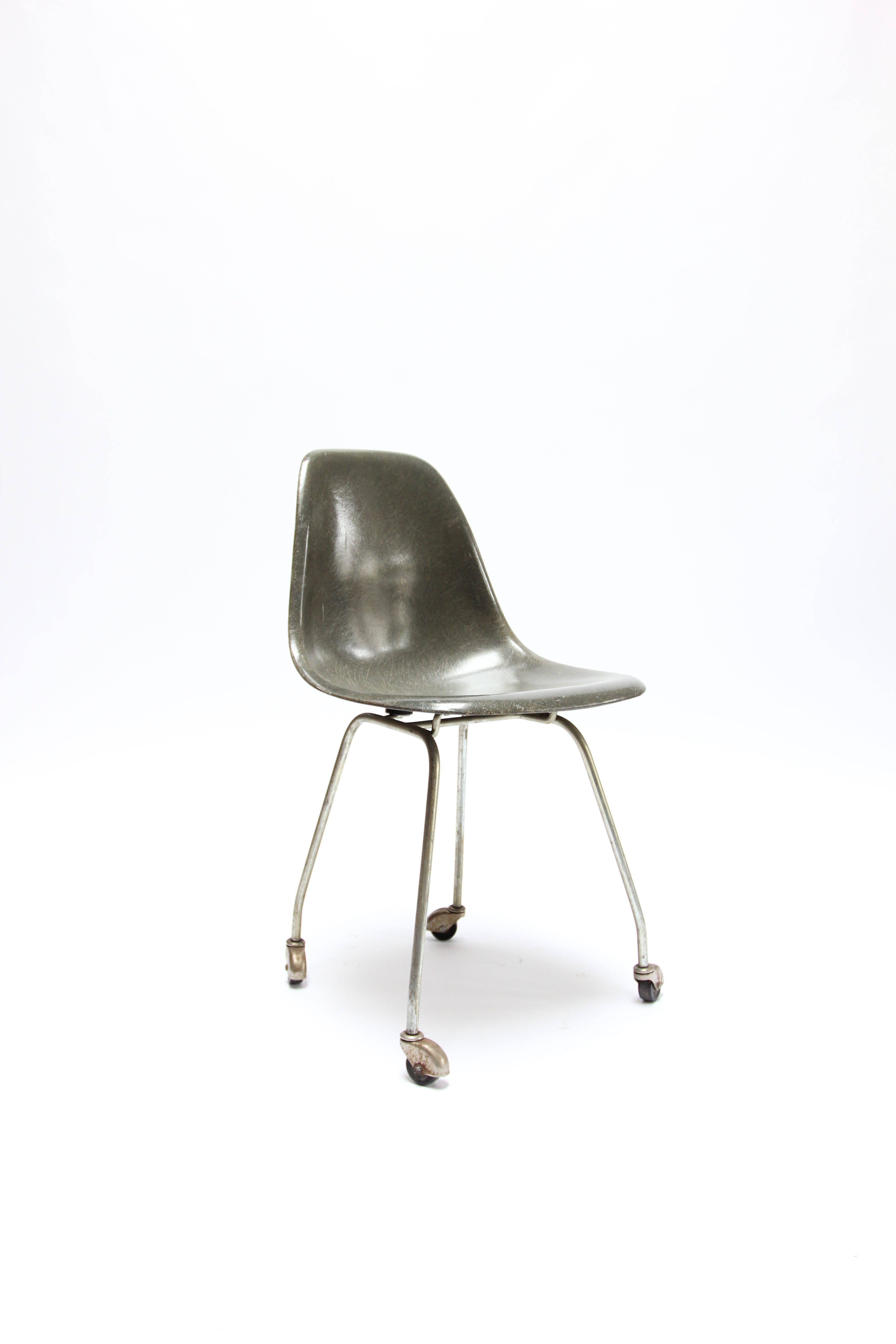 Rare Eames Designed Fiberglass Side Chair On A Very Rare Prototype Rolling  H Base. Mid Century ...