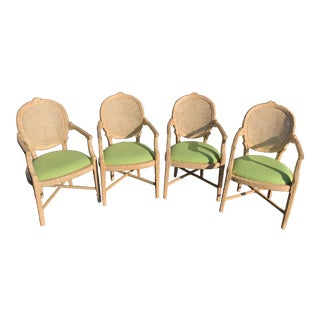 1990s Vintage Faux Bois Branch Form Cane Back Upholstered Seat Carved Wood Twig Armchairs- Set of 4 For Sale