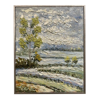 1980s Landscape Painting on Canvas For Sale