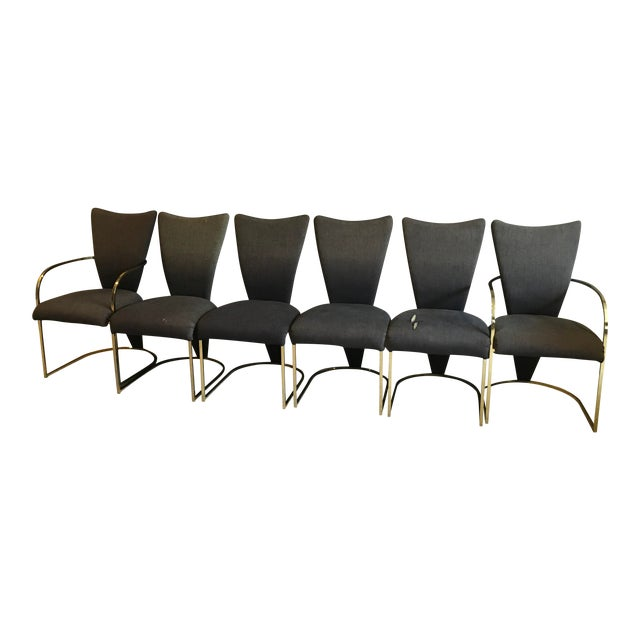 Milo Baughman Style Design Institute America Dia Modern Brass Dining Chairs - Set of 6 For Sale