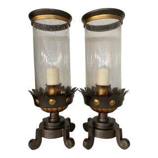 Large Glass Candle Holders - A Pair For Sale