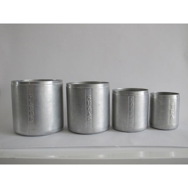 Mid-Century Aluminum Kitchen Canisters - Set of 4 - Image 3 of 4