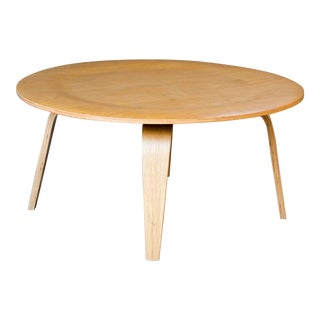 Mid Century Eames Ctw Style Molded Plywood Coffee Table For Sale