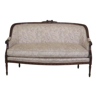 1990s Vintage French Louis XVI Style Walnut Carved Loveseat For Sale