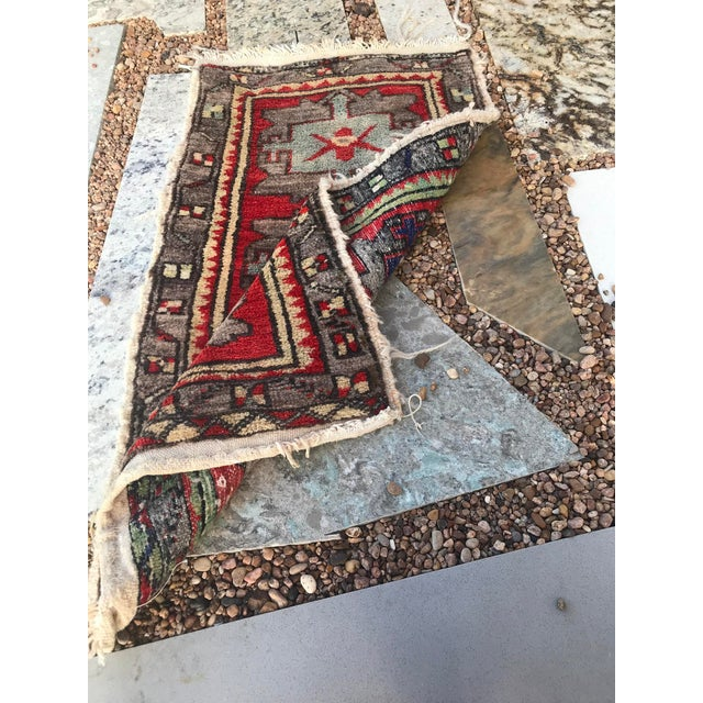 """1950s Hand Made Vintage Tribal Turkish Runner Rug Mat 1'8""""x2'9"""" For Sale - Image 5 of 8"""
