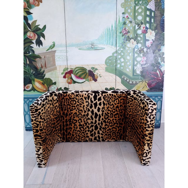 1980s 1980s Vintage Karl Springer Style Velvet Leopard Waterfall Bench For Sale - Image 5 of 9
