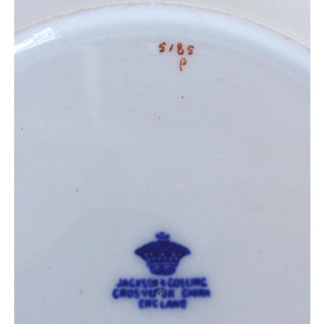 Desert Set W/ Blue & Gold Greek Key by Jackson & Coslinc , England- Set of 8 For Sale - Image 11 of 12