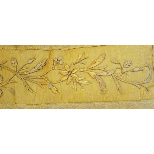 Antique French Silk Embroidered Pillow - Image 6 of 8