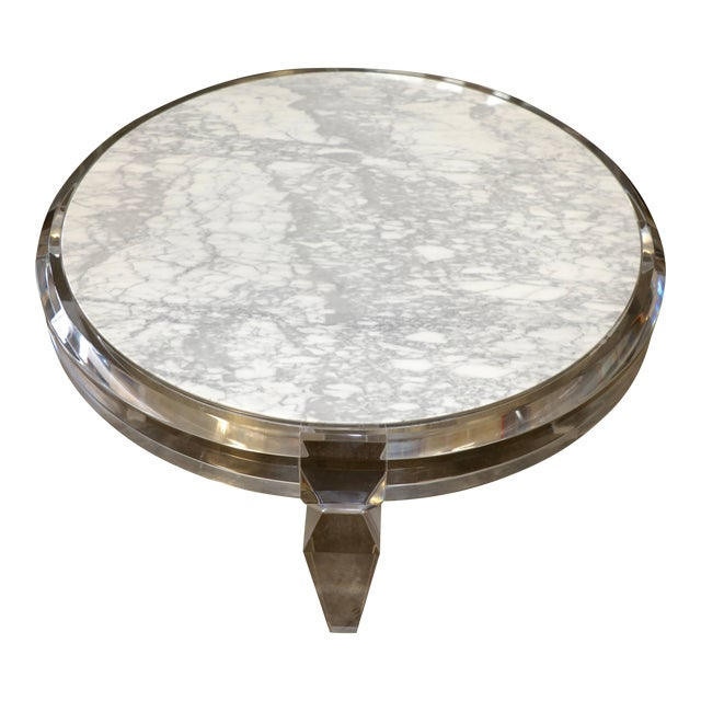Lucite and Marble-Top Coffee Table For Sale
