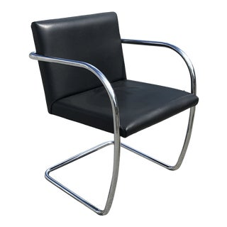 Mid-Century Style Brno Made in Italy Black Leather and Chrome Armchair For Sale