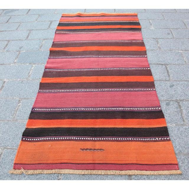 Turkish Floor Orange Stripe Kilim Rug - 4' x 2' 7'' - Image 11 of 11