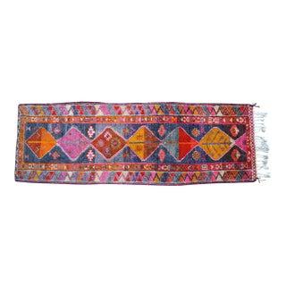 Heterodox Kurdish Runner Herki Rug. Hand-Knotted Colorful Tribal Short Runner - 3′ × 8′10″ For Sale