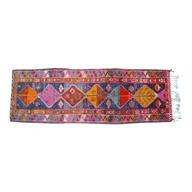 Heterodox Kurdish Runner Herki Rug. Hand-Knotted Colorful Tribal Short Runner - 3′ × 8′10″ For Sale