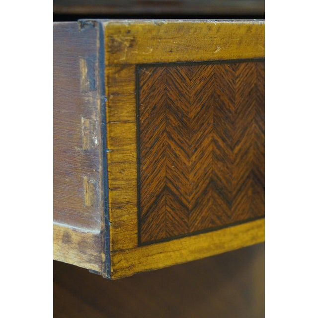 Antique 1920s Demilune Inlaid Walnut Louis XVI Style Chest of Drawers - Image 10 of 10
