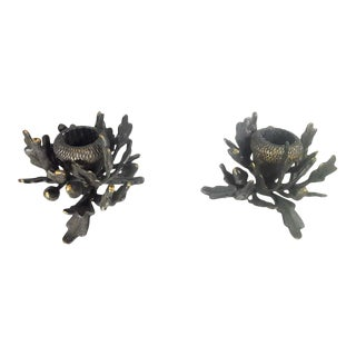 Heavy Heirloom Cast Iron Candle Holders - a Pair