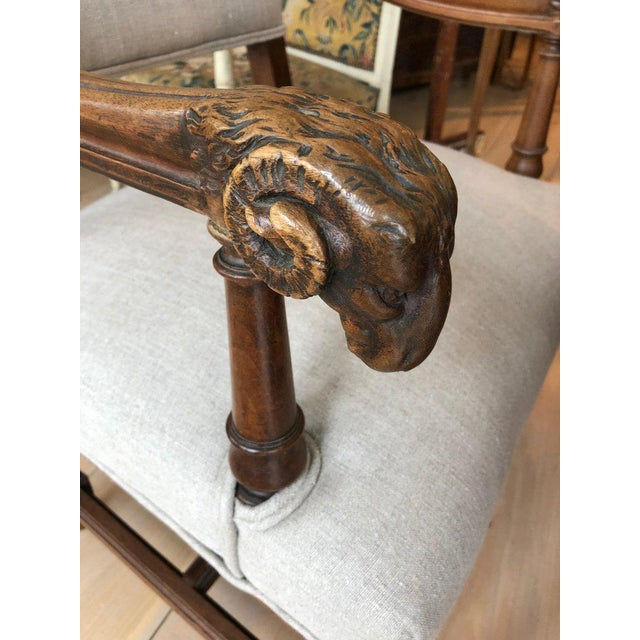 Neoclassical Handsome Carved Walnut and Linen Armchair For Sale - Image 3 of 10