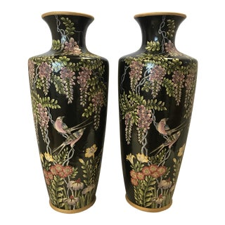 Black Chinese Hand Painted Floral Vases - A Pair
