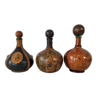 Italian Hand Tooled Leather Wrapped Decanters Bottles - Set of 3 For Sale