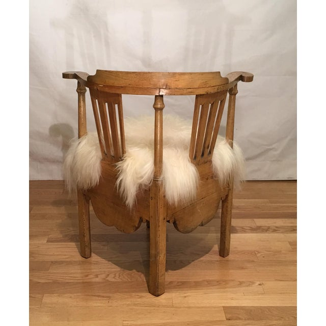 Antique 18th Century Corner Chair w Icelandic Sheep Fur Seat - Image 5 of 9 - Superb Antique 18th Century Corner Chair W Icelandic Sheep Fur Seat