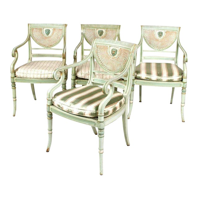 Set of Four 19th Century Painted Regency Style Neoclassical Armchairs - Image 1 of 10
