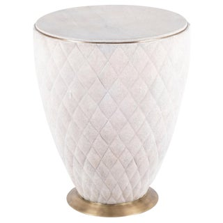 Coco Stool in Cream Shagreen and Bronze-Patina Brass by Kifu Paris For Sale