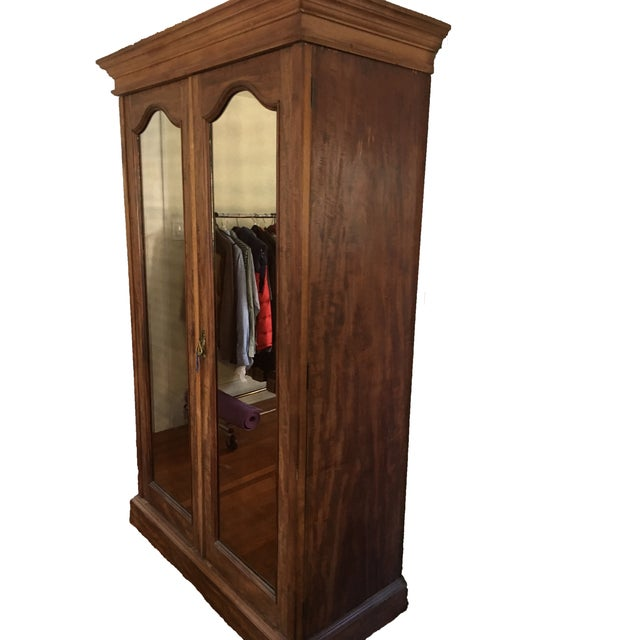 Solid Wood Armoire With Antiques Mirrors - Image 4 of 5