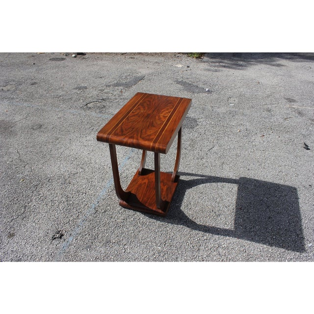 Walnut 1940s Art Deco Exotic Walnut Side Table For Sale - Image 7 of 12