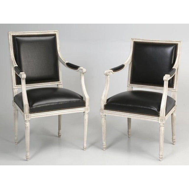 8 Painted French Louis XVI Dining Chairs W/ Leather For Sale - Image 12 of 13