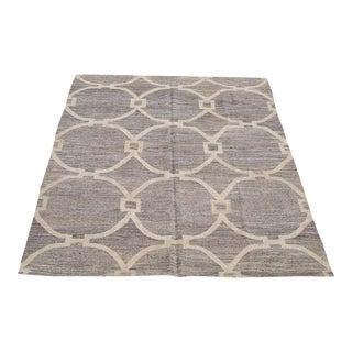 Modern Soft Gray and Ivory Geometric Turkish Wool Kilim For Sale