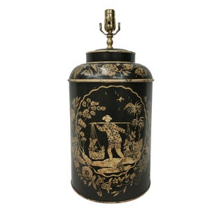 Export English Chinoiserie Tea Canister Lamp