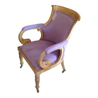 Italian Scroll Desk Chair New Lush Lilac Fabric Mid Century Modern For Sale