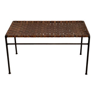 1950s Leather Wrought Iron Bench For Sale