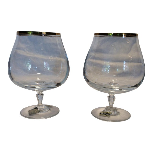 Crystal Gold Rim Brandy Snifters by Mikasa West Germany - a Pair For Sale