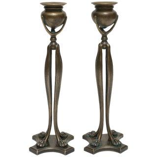 Pair of Tiffany Studios New York Art Nouveau Candlesticks, 1900 For Sale