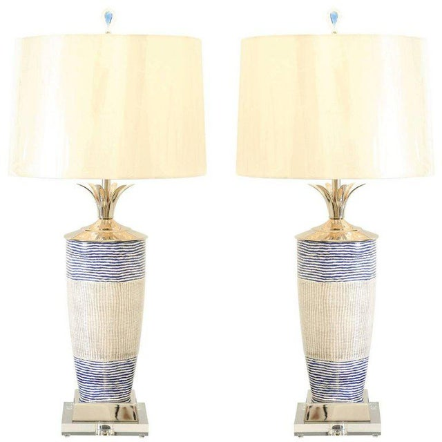 Exquisite Pair of Handmade Portuguese Ceramic Vessels as Custom Lamps For Sale - Image 11 of 11