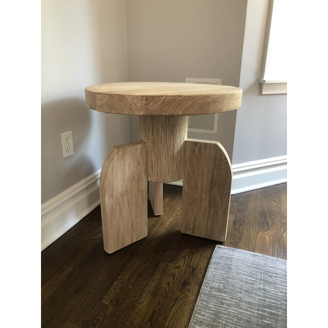 Contemporary Noir Sculptural Distressed Wood Side Table For Sale In New York - Image 6 of 6