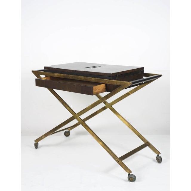 Mid-Century Modern 1960s Vintage Widdicomb Brass X Base Bar or Serving Cart For Sale - Image 3 of 11