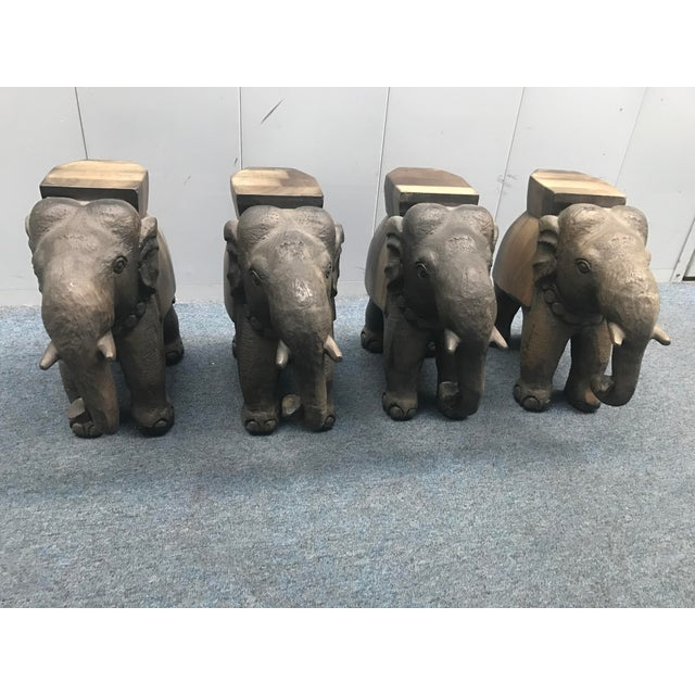 Glass Coffee Table With Wooden Elephant Stands - Image 6 of 8
