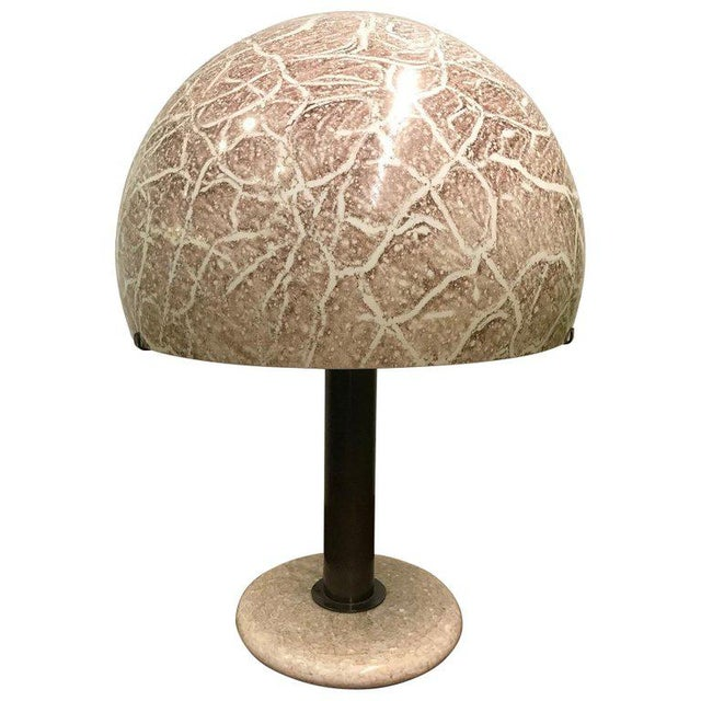 Alabaster Pair Venini Glass Mushroom Lamps For Sale - Image 7 of 7