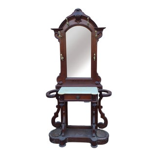 Antique Carved Walnut Marble Top Victorian Mirrored Hall Stand Tree C1890 For Sale
