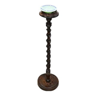 Antique Oak Twist Candle/Ashtray Stand