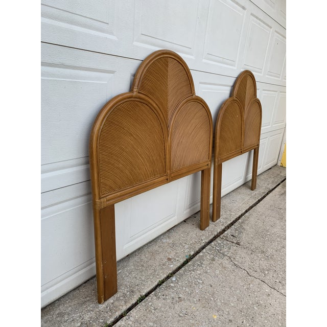 Absolutely lovely set of twin headboards. Matching nightstand available that would make a great set for a guest bedroom.