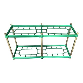 20th Century Hollywood Regency Painted Lucite Green and Gold Glass Console Table For Sale