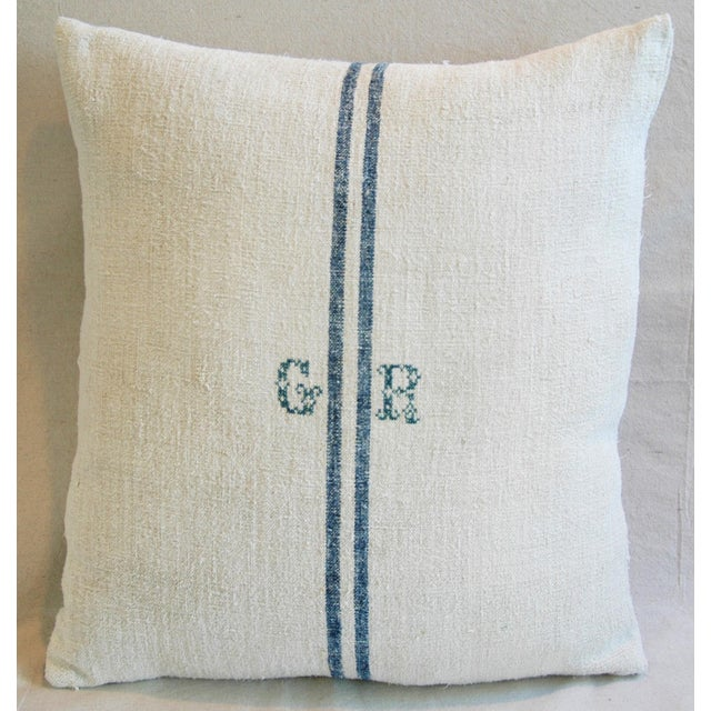 Blue Stripe French Grain Sack Down & Feather Pillow - Image 6 of 6