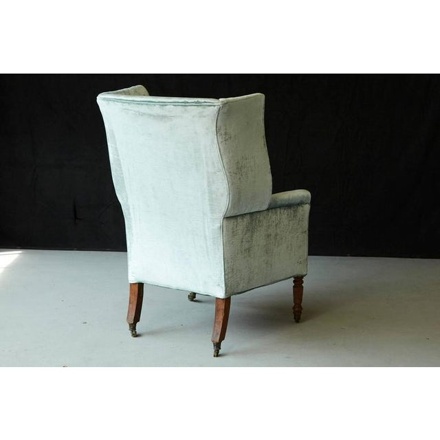 19th Century Hepplewhite Mahogany Wingback Chair in Silver Striae Velvet For Sale In New York - Image 6 of 9