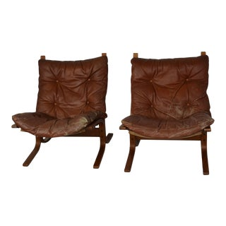 Westnofa Norwegian Leather and Bentwood Chairs- a Pair For Sale