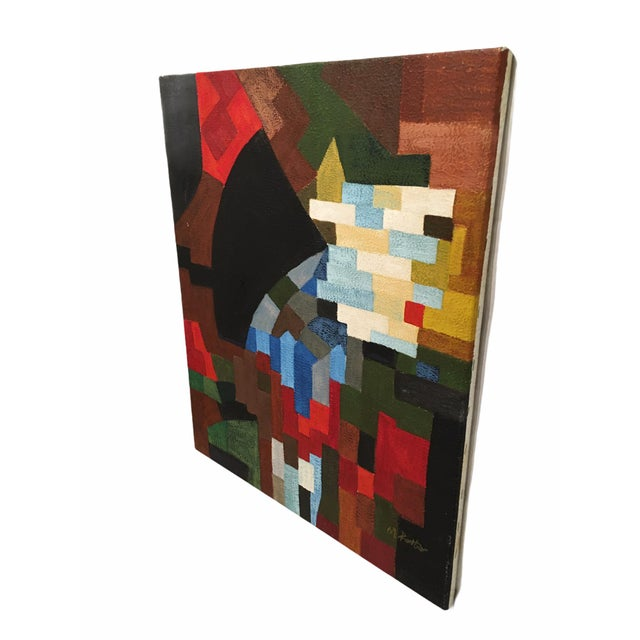 Abstract Vintage Abstract Geometric Oil Painting on Canvas For Sale - Image 3 of 10