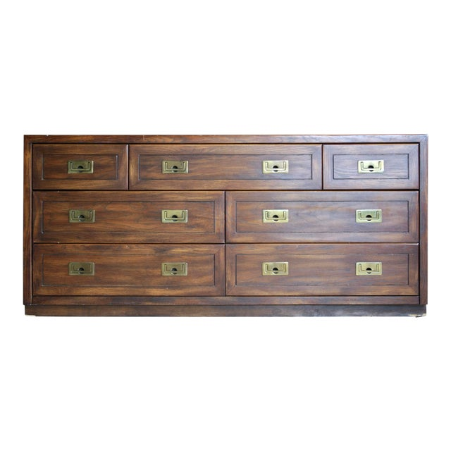 Campaign Style 7-Drawer Dresser For Sale