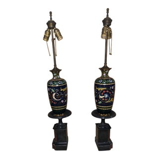 Mid-Century Painted Wood Lamps - a Pair For Sale