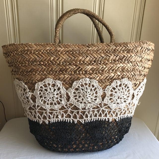 Large Boho Lined Jute Market Basket - Image 3 of 8